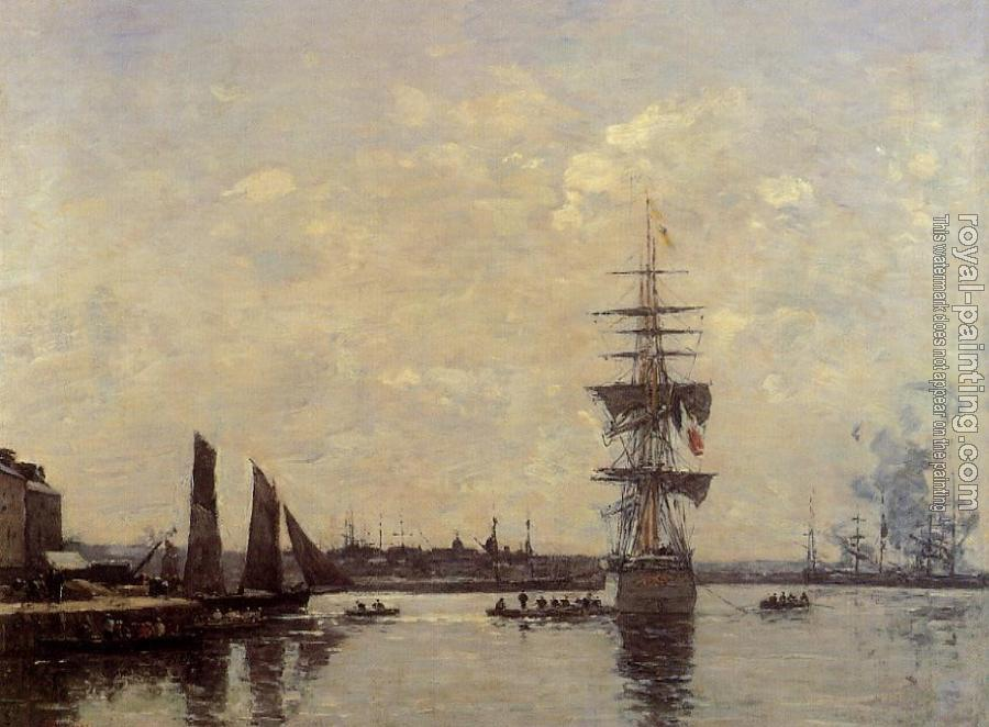 Eugene Boudin : Sailing Boats at Quay