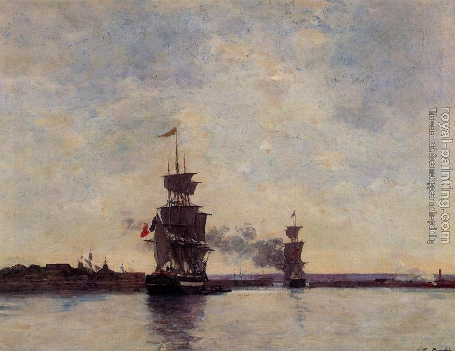 Eugene Boudin : Sailing Ships Entering Port