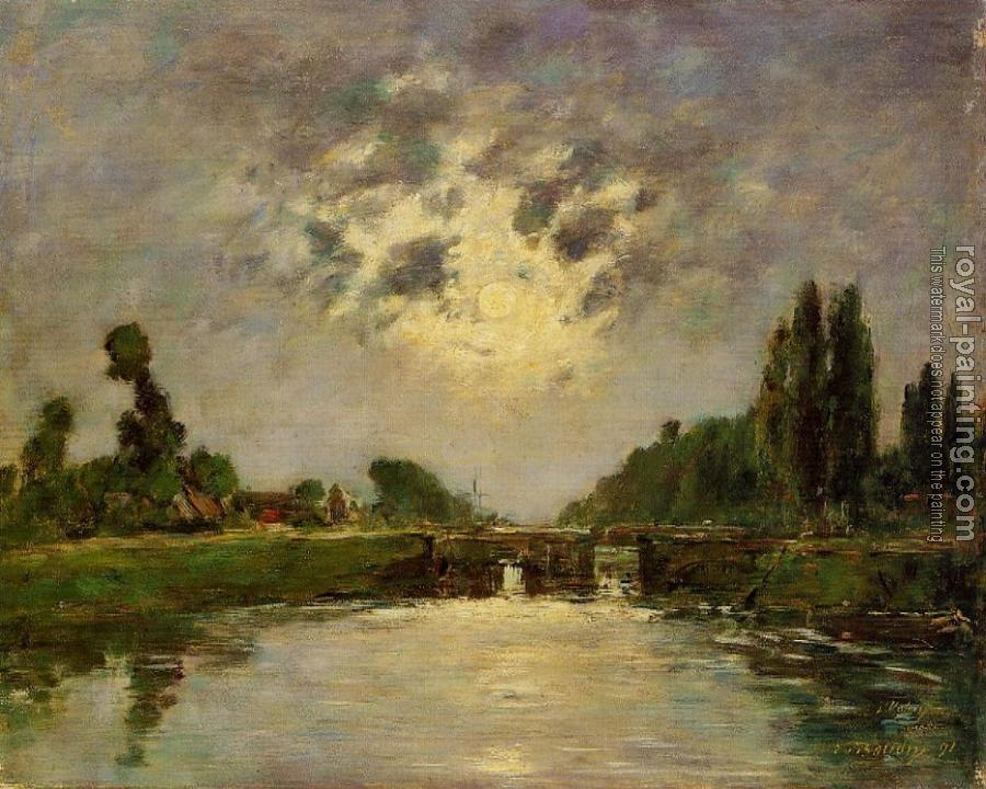 Eugene Boudin : Saint-Valery-sur-Somme, the Bridge on the Lock