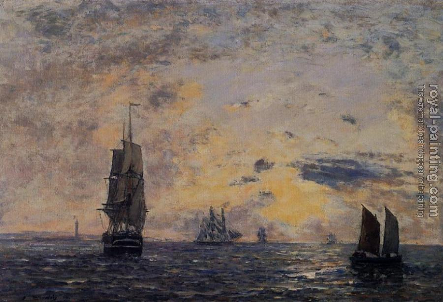 Eugene Boudin : Seascape, Fishing Boats