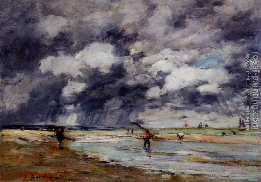 Eugene Boudin : Shore at Low Tide, Rainy Weather, near Trouville