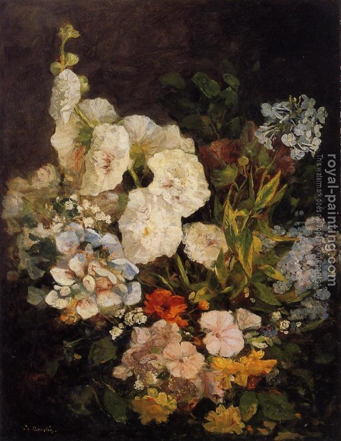 Eugene Boudin : Spray of Flowers, Holyhocks