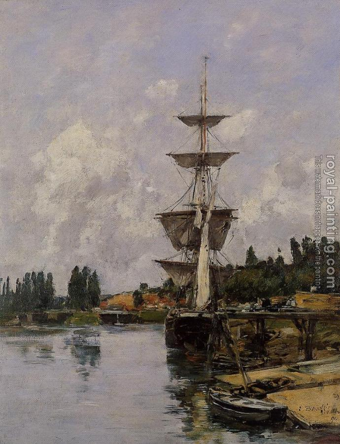 Eugene Boudin : The Canal at Saint-Valery-sur-Somme