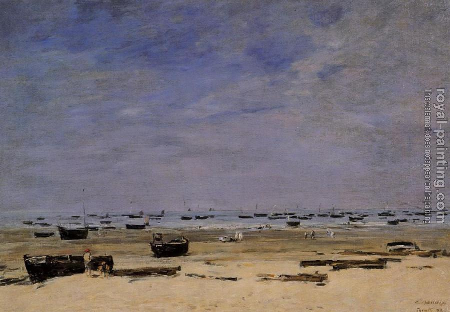 Eugene Boudin : The Coastline at Berck at Low Tide