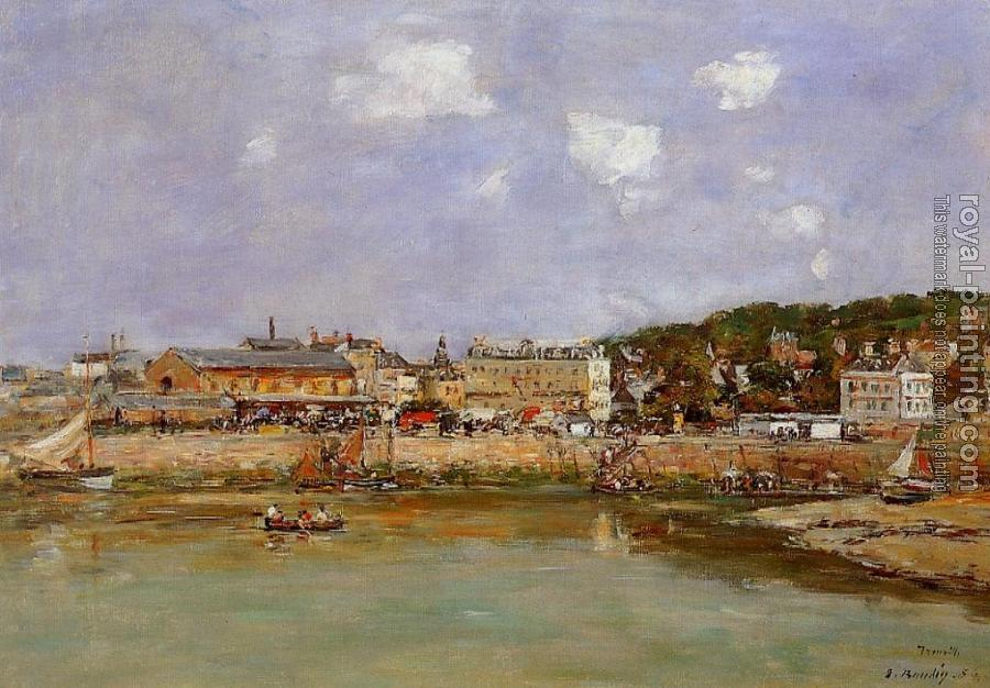 Eugene Boudin : The Port of Trouville, the Market Place and the Ferry