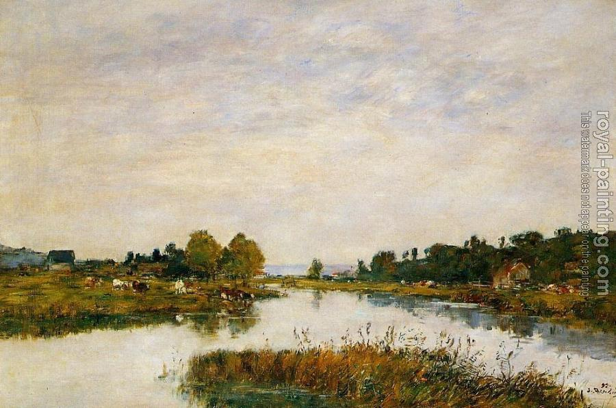Eugene Boudin : The Still River at Deauville