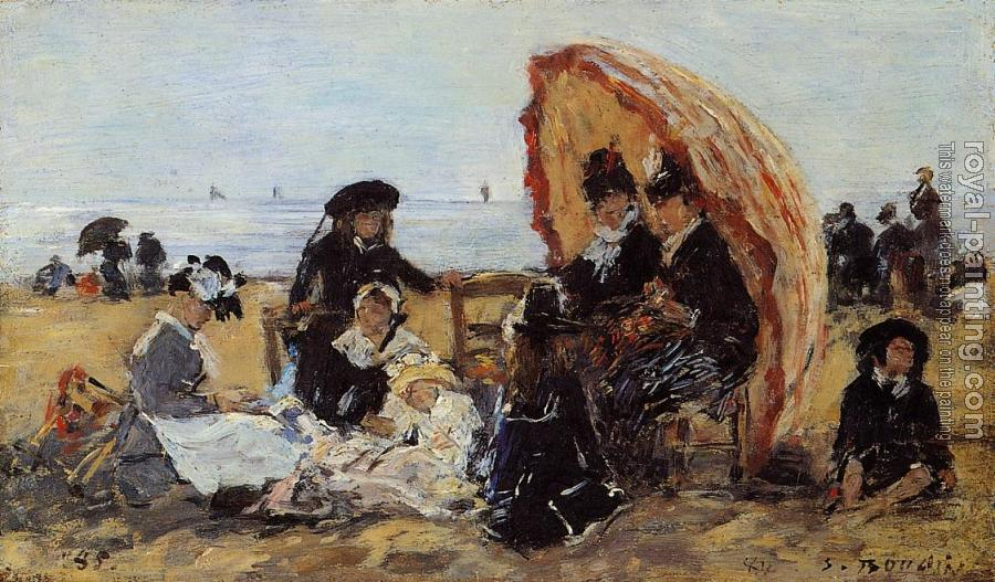 Eugene Boudin : Trouville, on the Beach Sheltered by a Parasol