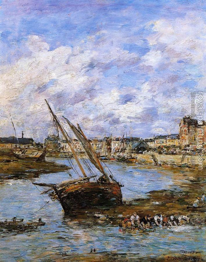 Eugene Boudin : Trouville, the Inner Port, Low Tide