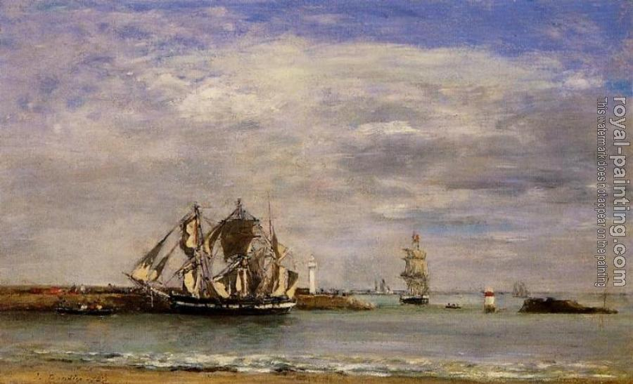 Eugene Boudin : Trouville, the Jettys, High Tide II
