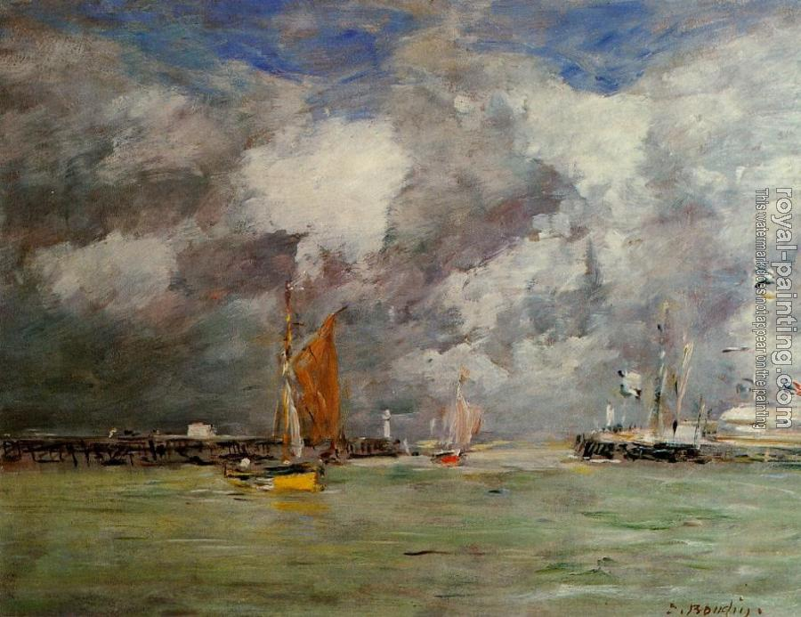 Eugene Boudin : Trouville, the Jettys, High Tide III