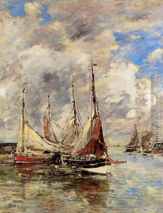 Eugene Boudin : Trouville, the Piers, High Tide