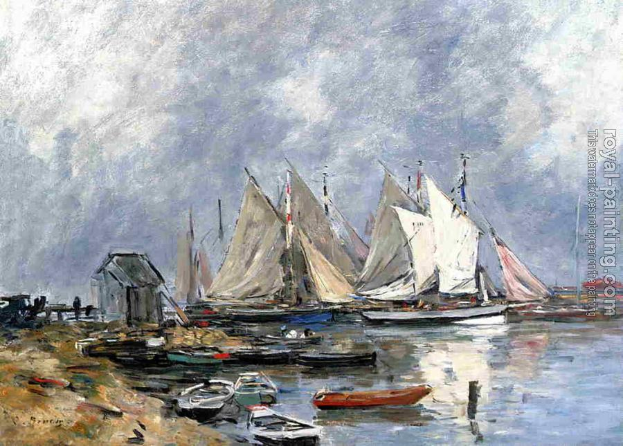 Eugene Boudin : Trouville, the Port, Boats and Dinghys