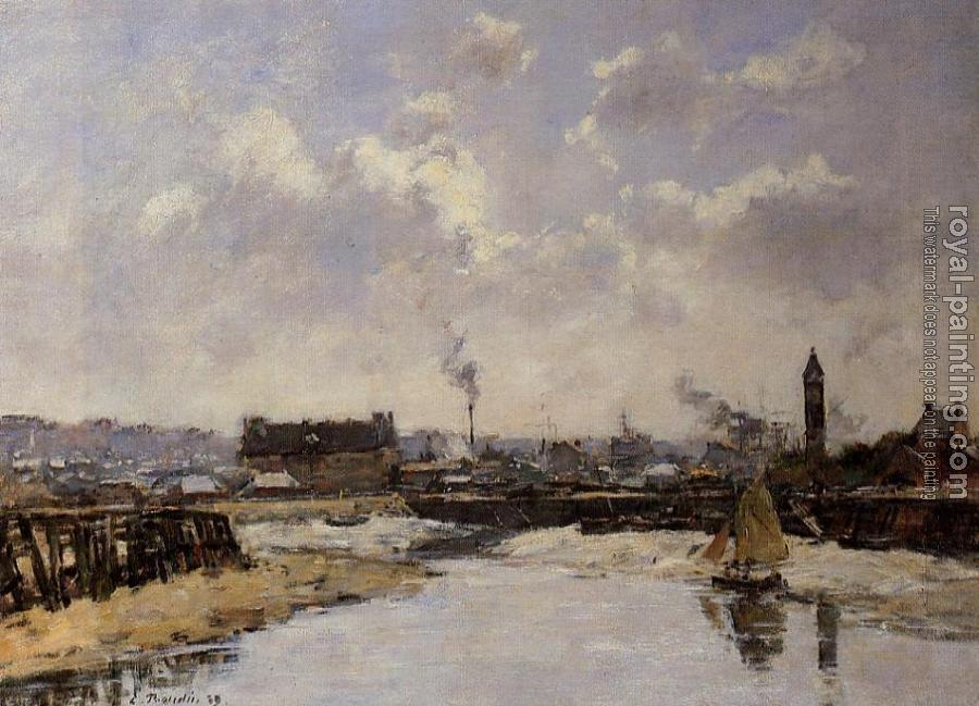 Eugene Boudin : Trouville, the Port, Low Tide, Morning