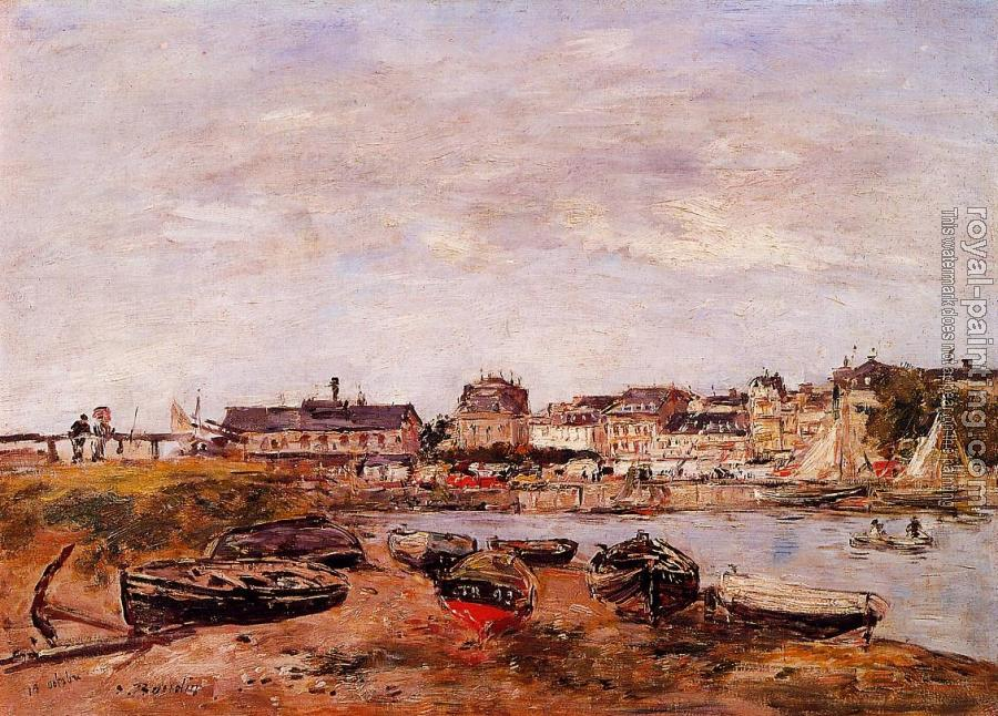 Eugene Boudin : Trouville, the View from Deauville on Market Day