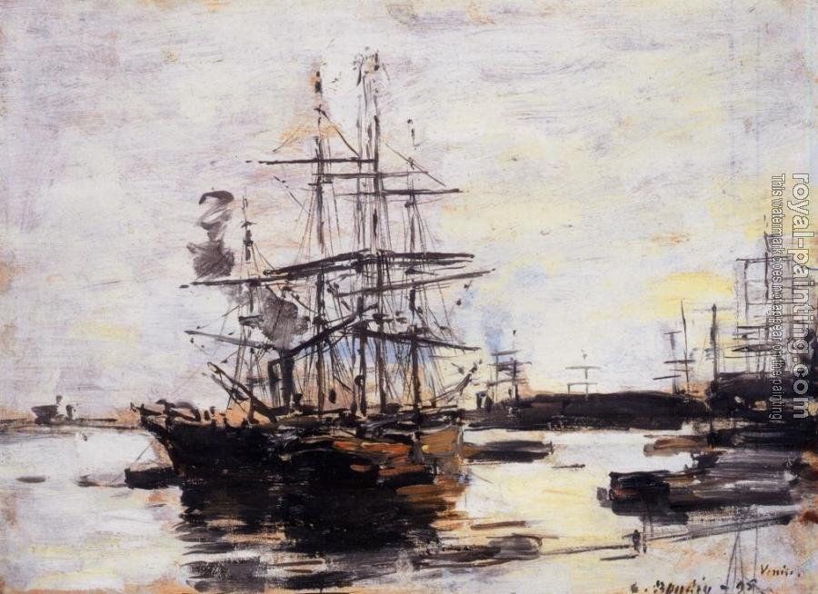 Eugene Boudin : Vessel at Anchor outside of Venice