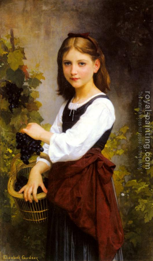 Elizabeth Gardner Bouguereau : A Young Girl Holding a Basket of Grapes