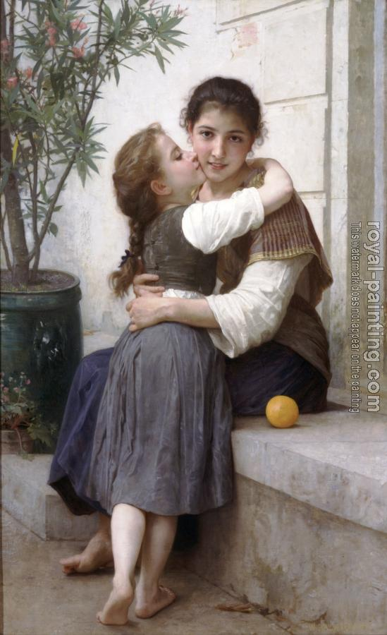William-Adolphe Bouguereau : A Little Coaxing
