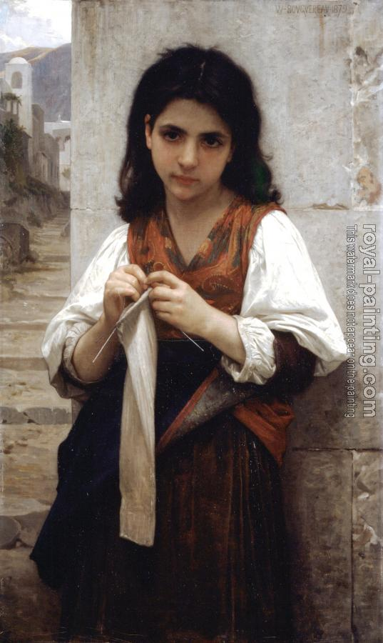 William-Adolphe Bouguereau : The Little Knitter III