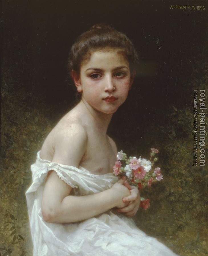 William-Adolphe Bouguereau : Petite fille au bouquet, Little girl with a bouquet