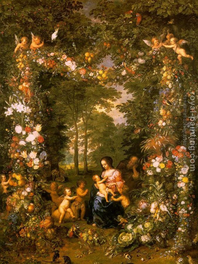 Jan The Elder Brueghel : Holy Family in a Flower and Fruit Wreath (painted with Pieter van Avont)