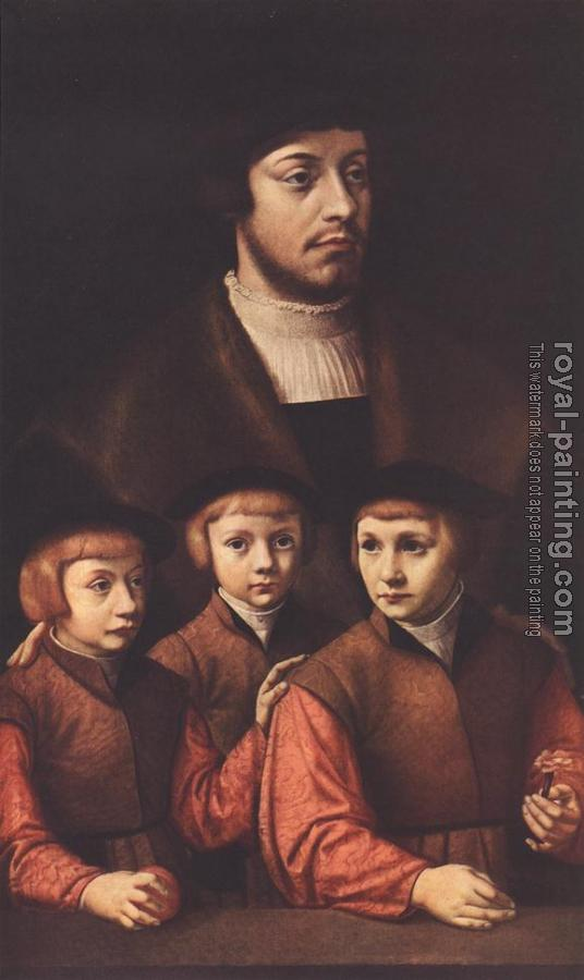 Barthel Bruyn : Portrait of a Man with Three Sons