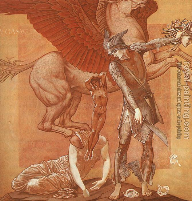 Sir Edward Coley Burne-Jones : The Birth of Pegasus and Chrysaor from the Blood of Medusa