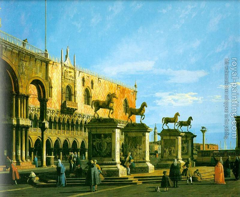 Canaletto : Capriccio, The Horses of San Marco in the Piazzetta