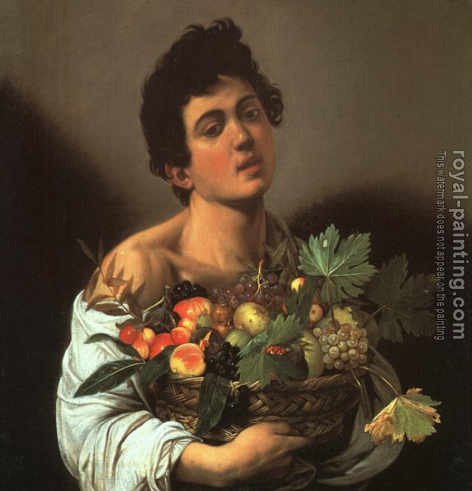 Caravaggio : Youth with a Flower Basket
