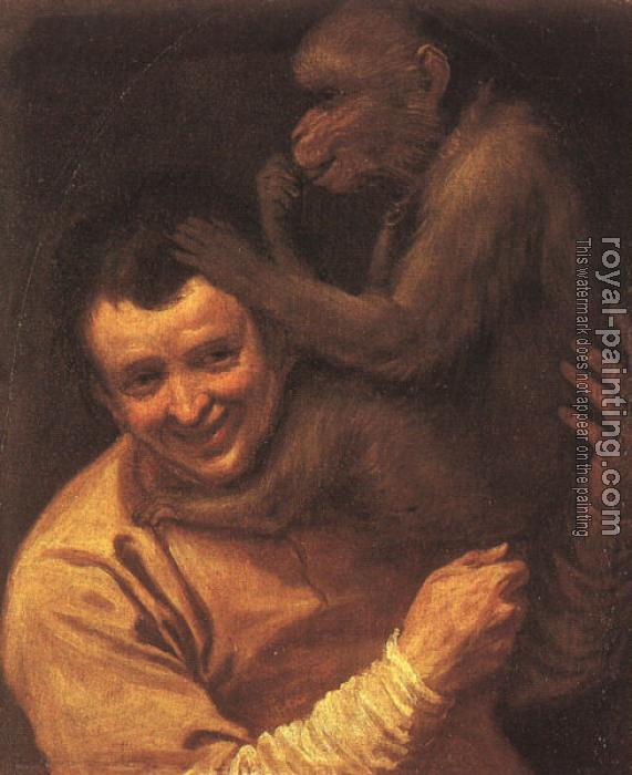Annibale Carracci : A Man with a Monkey