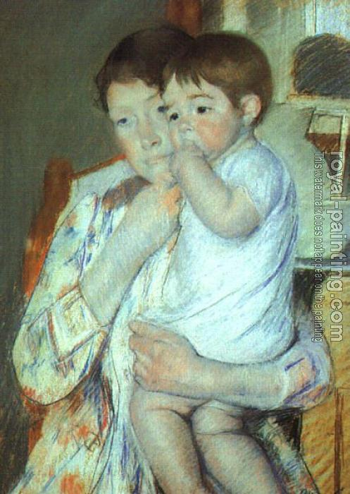 Mary Cassatt : Mother and Child Against a Green Background (Maternity)