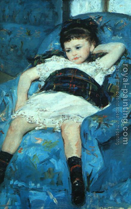 Mary Cassatt : Little Girl in a Blue Armchair, detail