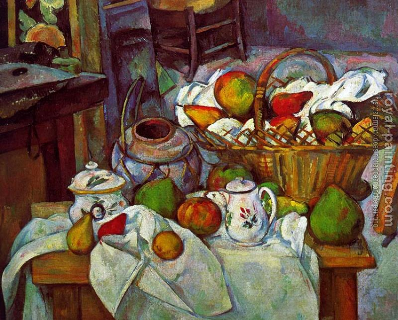 Paul Cezanne : Vessels, Basket and Fruit (The Kitchen Table)