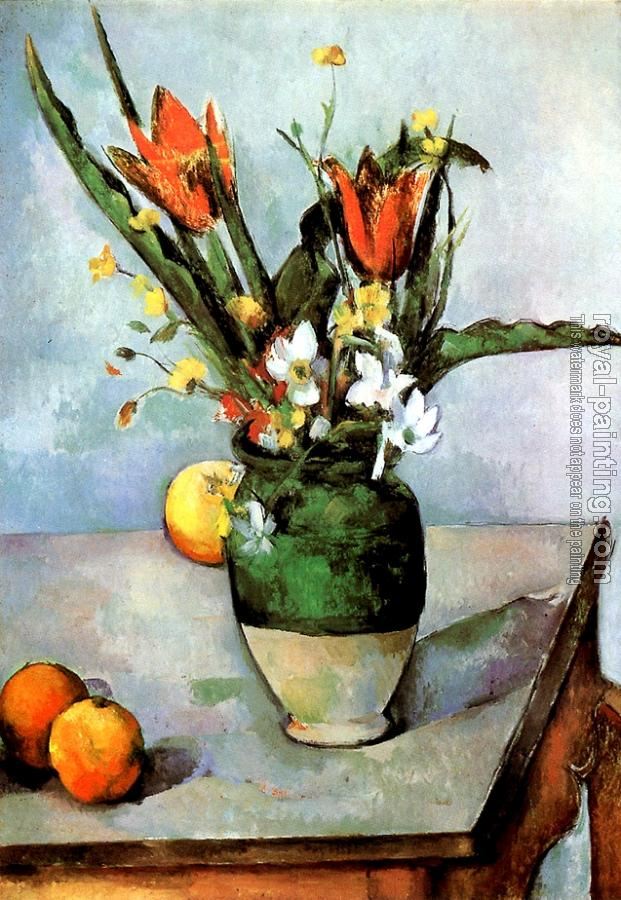 Paul Cezanne : Still Life with Tulips and Apples
