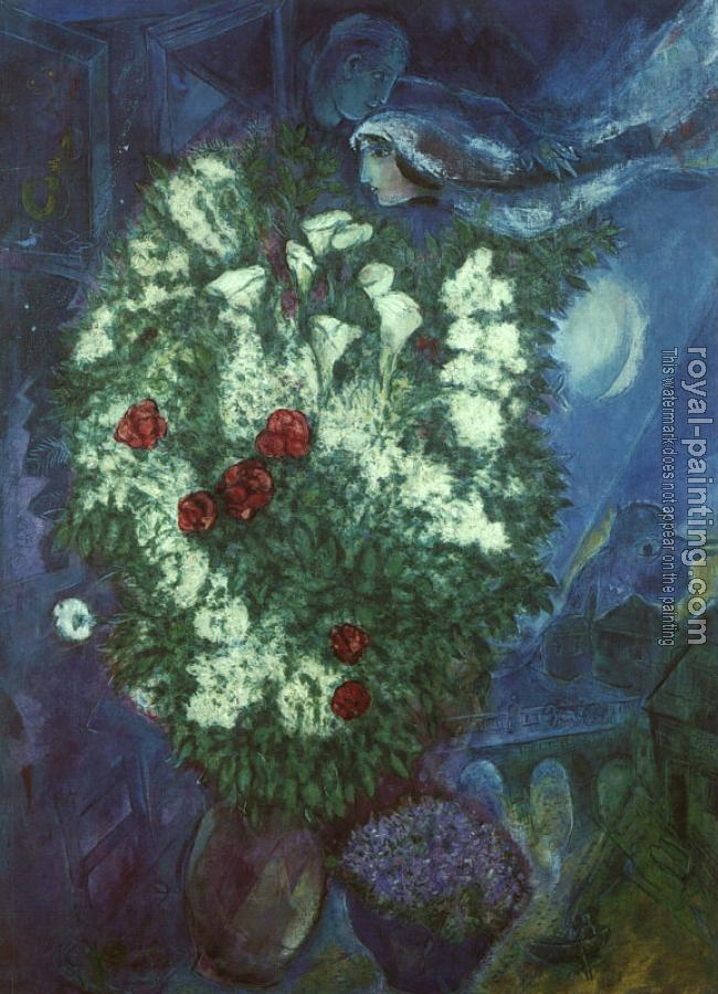 Marc Chagall : Bouquet with Flying Lovers