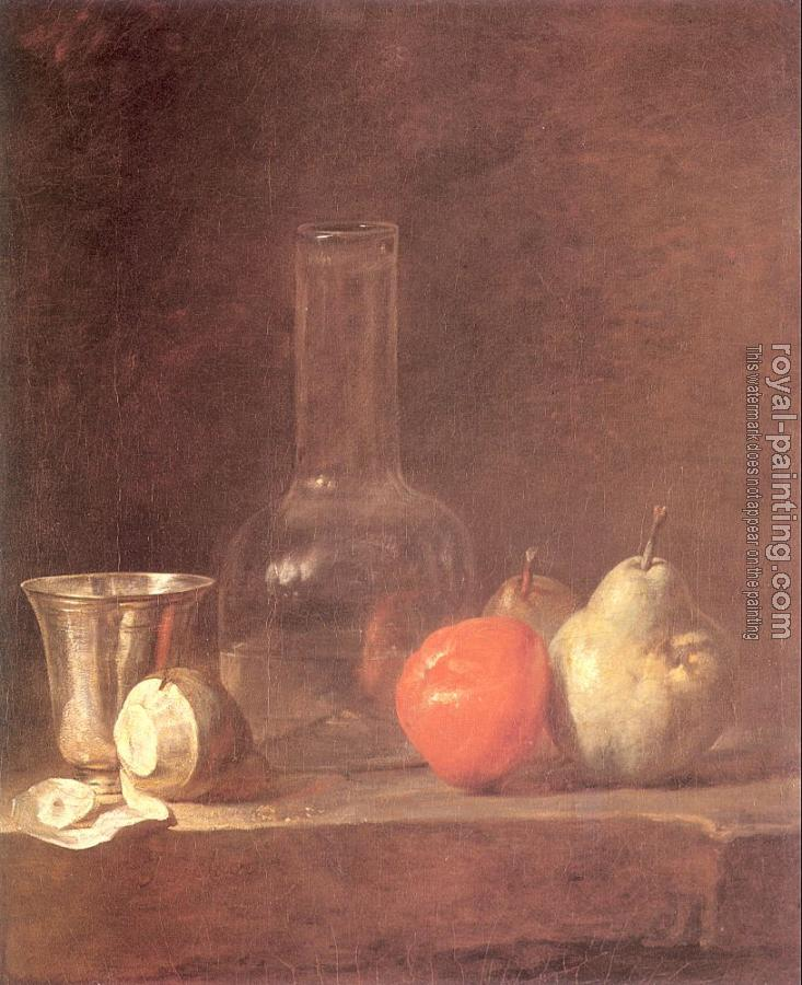Carafe, Silver Goblet and Fruit