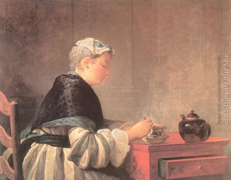 Jean Baptiste Simeon Chardin : Lady Taking Tea