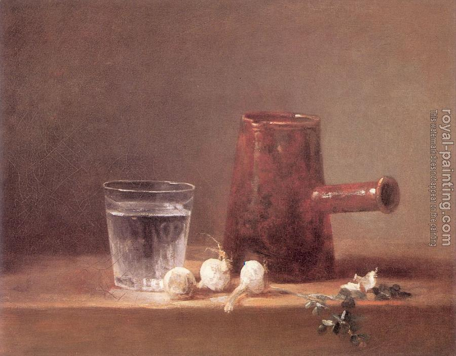Jean Baptiste Simeon Chardin : Glass of Water and a Coffee Pot