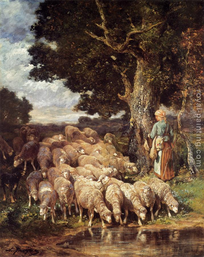 Charles Emile Jacque : A Shepherdess with her Flock near a Stream