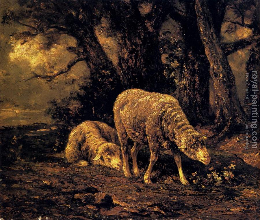 Charles Emile Jacque : Sheep In A Forest