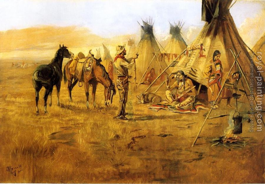 Charles Marion Russell : Cowboy Bargaining for an Indian Girl