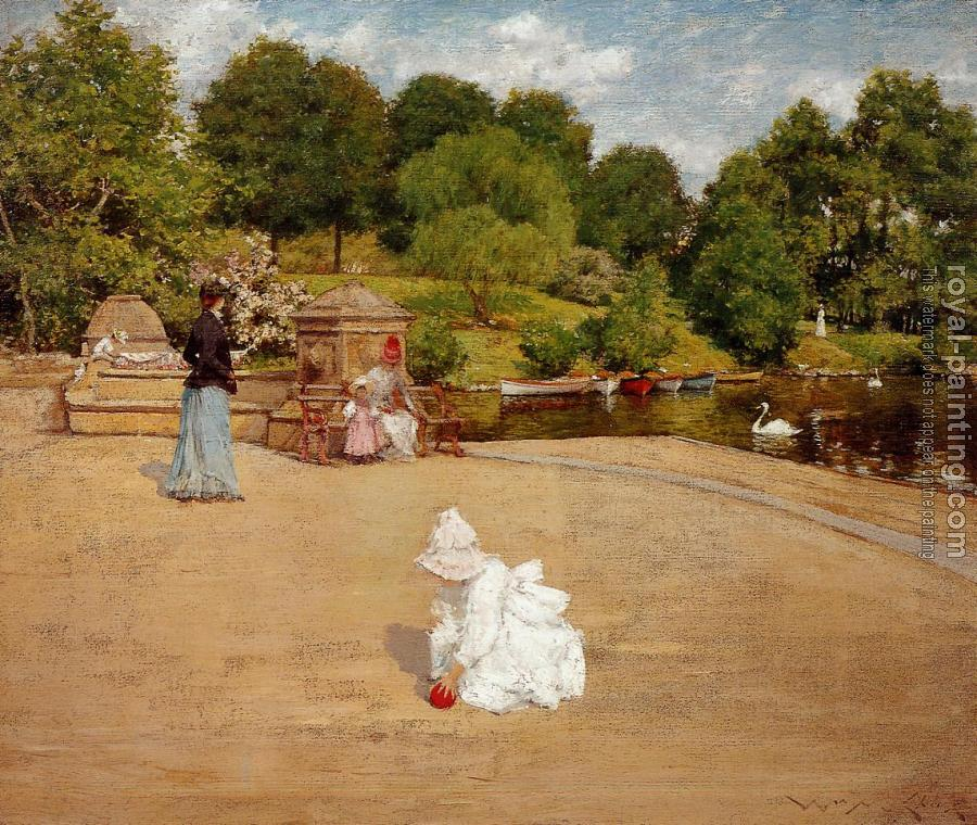 William Merritt Chase : A Bit of the Terrace aka Early Morning Stroll