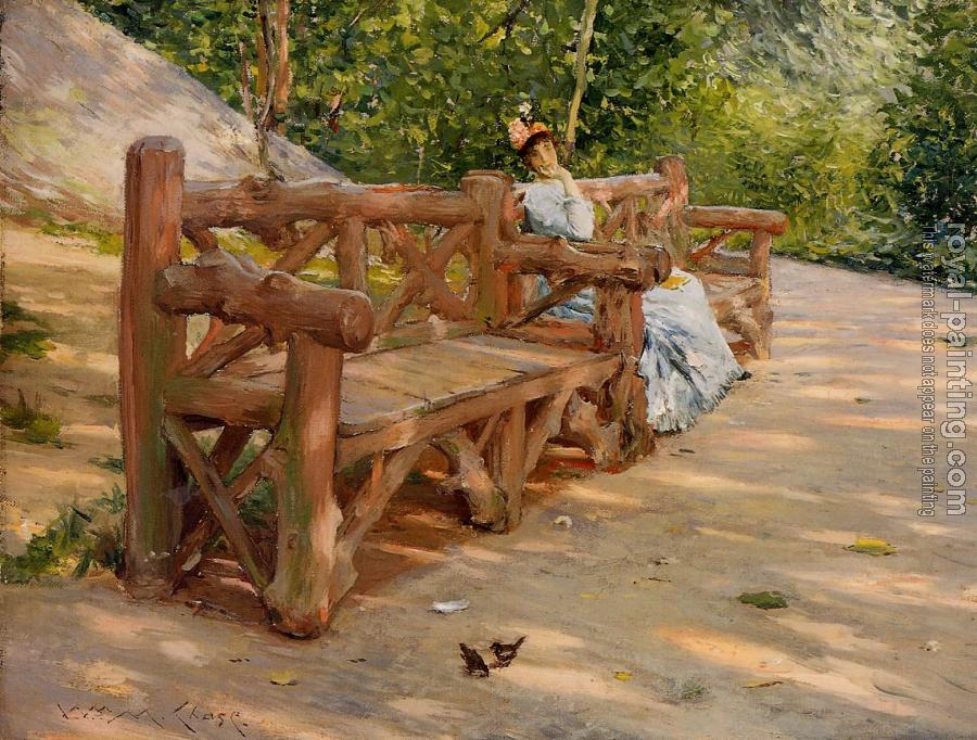 William Merritt Chase : Park Bench aka An Idle Hour in the Park Central Park