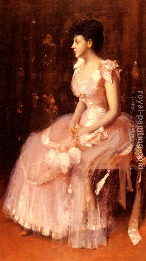William Merritt Chase : Portrait Of A Lady In Pink