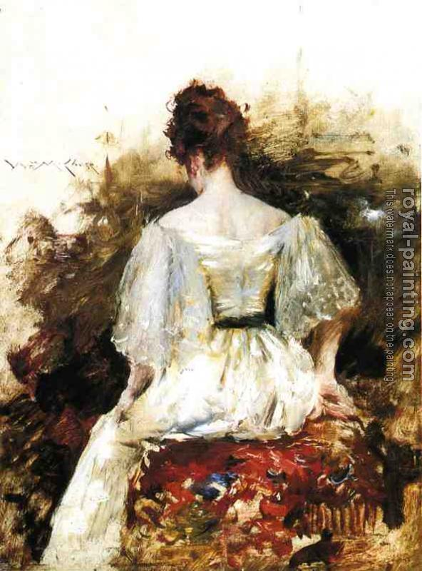 William Merritt Chase : Portrait of a Woman The White Dress