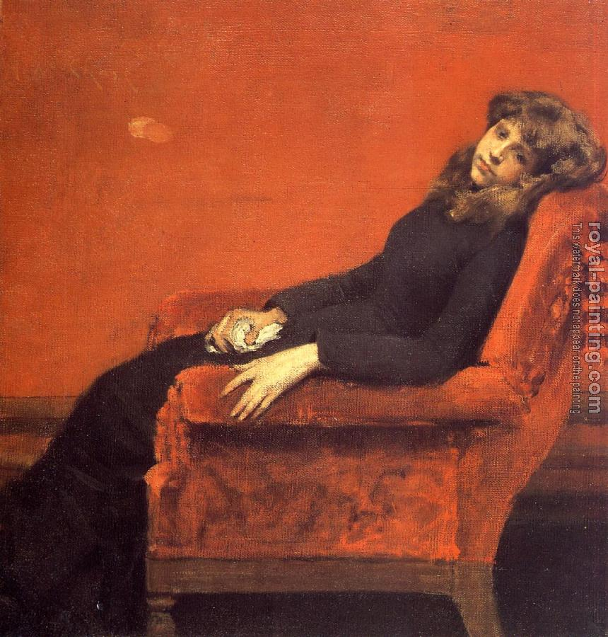 William Merritt Chase : The Young Orphan Study of a Young Girl aka At Her Ease