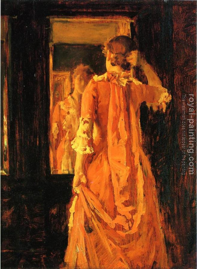 William Merritt Chase : Young Woman Before a Mirror