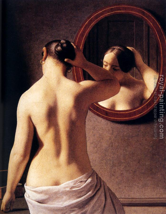 Christoffer Wilhelm Eckersberg : Woman Standing In Front Of A Mirror