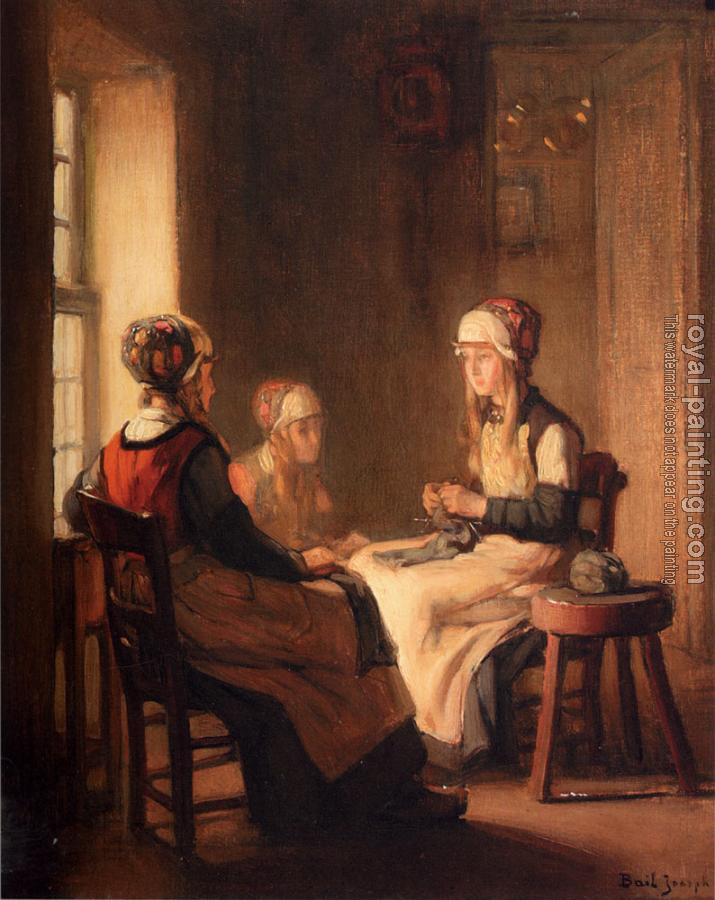 Claude Joseph Bail : A Interior With Marken Girls Knitting