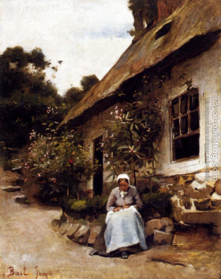 Claude Joseph Bail : Woman Sewing In Front Of Her Cottage