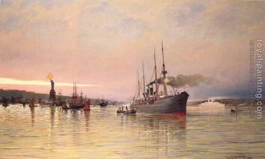 Cornelis Christiaan Dommelshuizen : A View Of New York Harbor